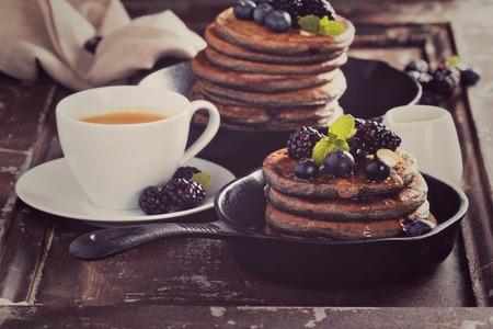 Blueberry pancakes with buckwheat flour