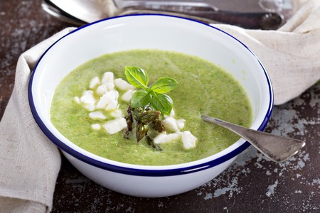 Roasted asparagus and pea soup photo
