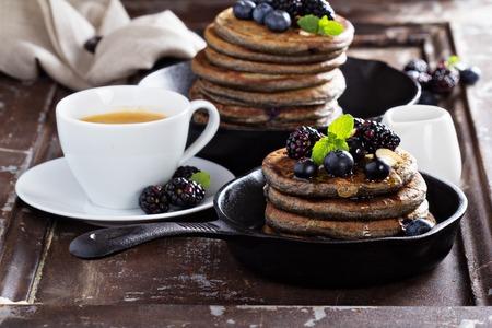chocolate syrup: Blueberry pancakes with buckwheat flour