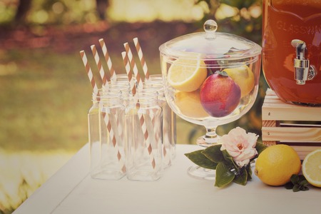 outdoor wedding: Drink station for an outdoor party