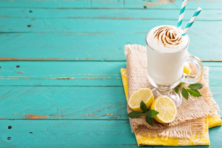 ice cream glass: Lemon milkshake with meringue on top