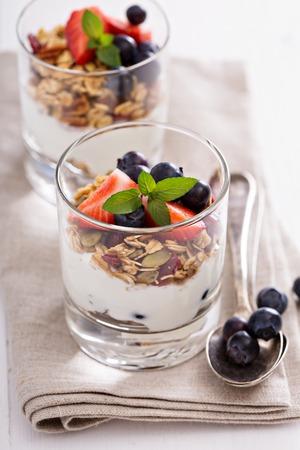 parfait: Breakfast parfait with homemade granola and yogurt