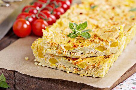 Vegan tart with millet crust and vegetable tofu filling