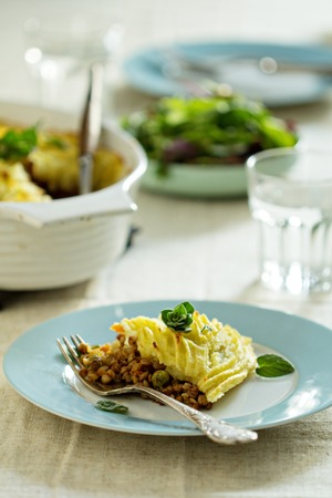 Vegan shepherd pie with lentils and mashed potatoes Stock Photo