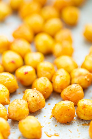 healthy snack: Roasted spicy and crunchy chickpeas healthy snack selective focus