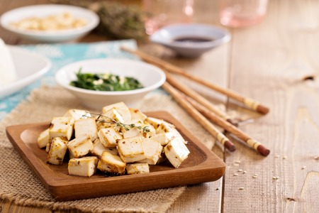 Baked marinated tofu with herbs and spices Stok Fotoğraf