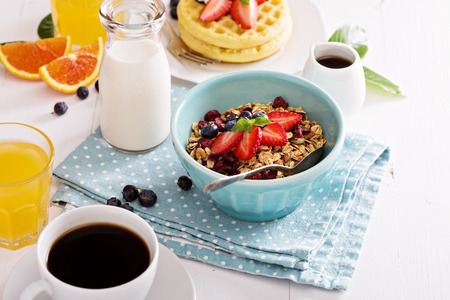 Breakfast bowl with homemade granola and berries