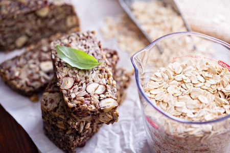 psyllium: Healthy multigrain bread with oats, nuts and seeds Stock Photo