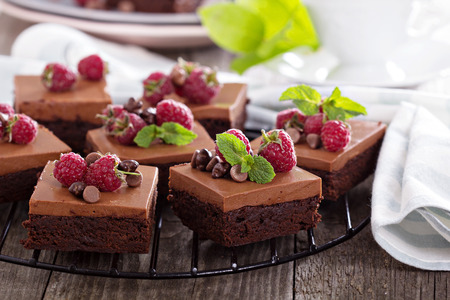 Chocolate mousse brownies with raspberry on a cooling rack Фото со стока