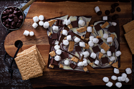 Chocolate bar with marshmallows, graham crackers and milk chocolate pieces Stock Photo