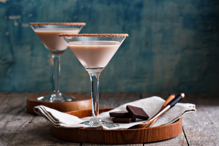 Chocolate martini coctail made from chocolate, cream and vodka