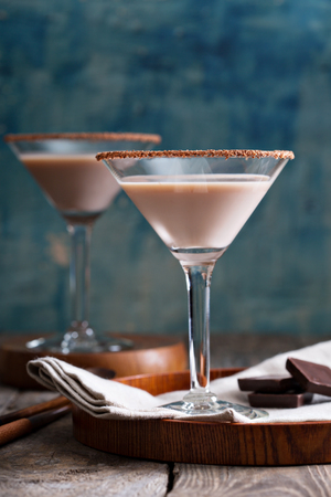 liquor: Chocolate martini coctail made from chocolate, cream and vodka