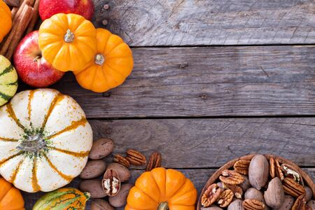 vegetable background: Pumpkins, nuts, indian corn and apples on a rustic table overhead corner frame with empty space