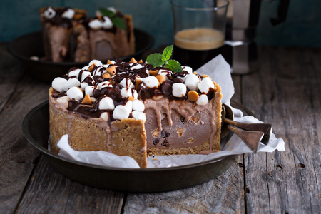 Rocky road ice cream cake with peanuts, marshmallows, chocolate chips