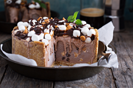chocolate treats: Rocky road ice cream cake with peanuts, marshmallows, chocolate chips
