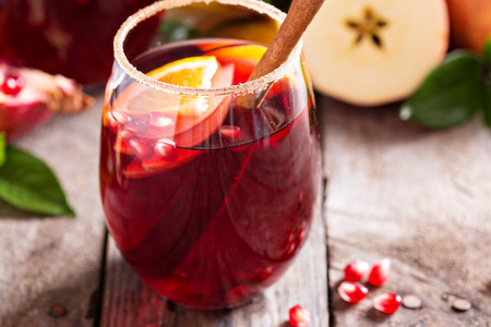 apples and oranges: Fall and winter sangria with apples, oranges, pomegranate and cinnamon