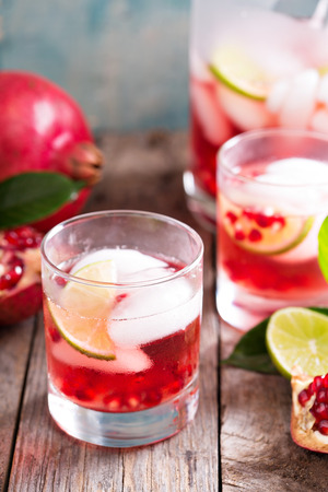 Pomegranate margarita cocktail with lime slices and ice Stok Fotoğraf