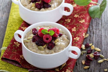kasha: Pearl barley porridge with dreid and freah fruits