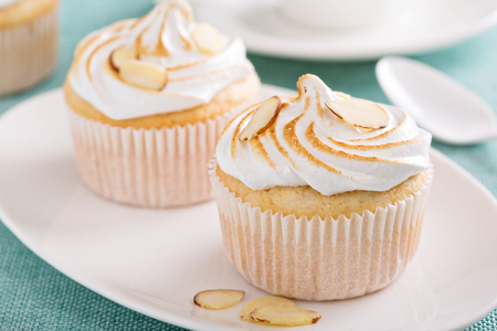 cupcakes: Almond cupcakes with meringue tops fluffy and light