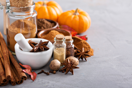 Homemade pumpkin pie spice in a glass jar Imagens
