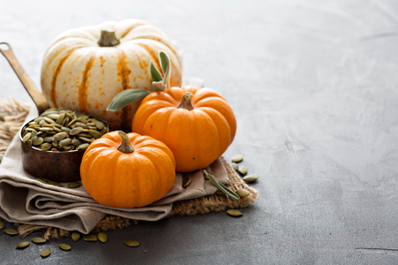 Pumpkins with pumpkin seeds and sage leaves Stok Fotoğraf - 47809189