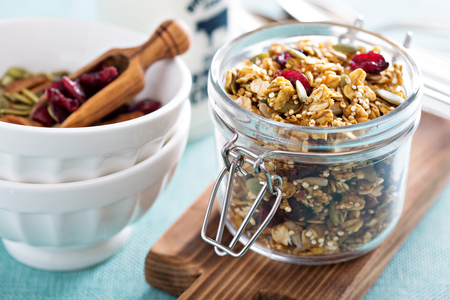 Homemade granola with quinoa and dried cranberry 스톡 콘텐츠