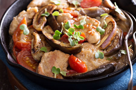 Chicken with tomatoes and eggplant with creamy sauce