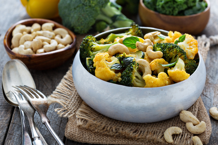 vegetable curry: Vegetable curry with broccoli, cauliflower, kale cashew nuts