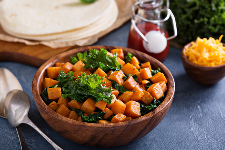 sweet corn: Making quesadillas with cheddar, kale and sweet potato