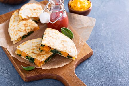 grilled potato: Quesadillas with cheddar, kale and sweet potato
