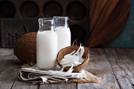 coco: Coco vegano leche no láctea en diferentes botellas con espacio de copia Foto de archivo
