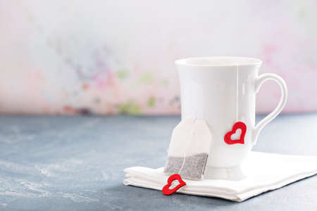 tea bag: Tea cup and tea bag for valentines day