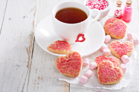 sugar cookie: Valentines day sugar cookies with pink sprinkles Stock Photo