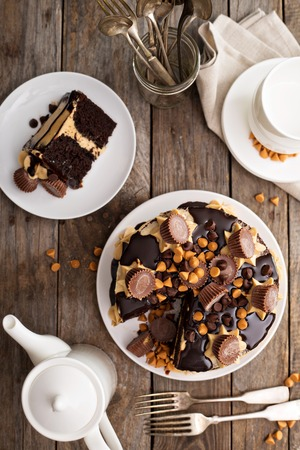 frosting': Chocolate peanut butter cake with frosting and chocolate glaze Stock Photo