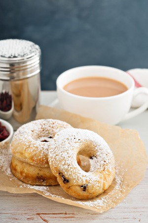 Vanilla baked donuts with dried cranberries dusted with powdered sugar