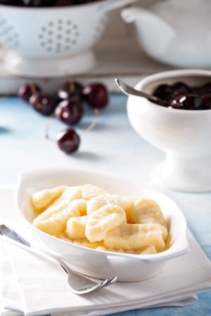 pierogi: Cottage cheese gnocchi with homemade cherry sauce