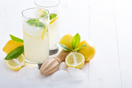 Freshly made homemade lemonade in tall glasses