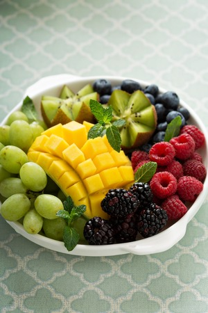 fruit plate: Fruit plate with variety of berries, mango and kiwi