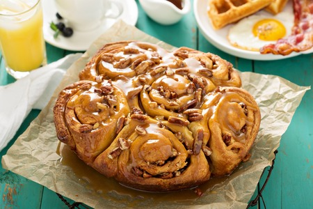 Sticky pecan buns on southern breakfast table
