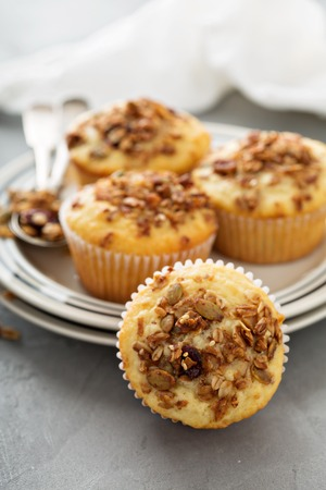 Homemade granola muffins for breakfast with coffee