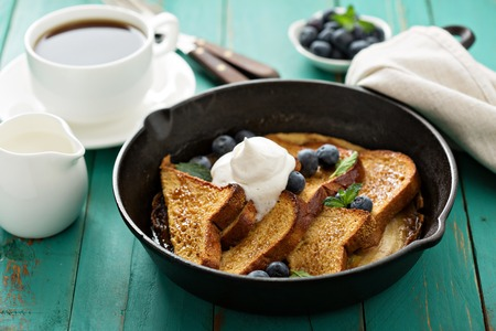 French toast with caramelized banana and brown sugar