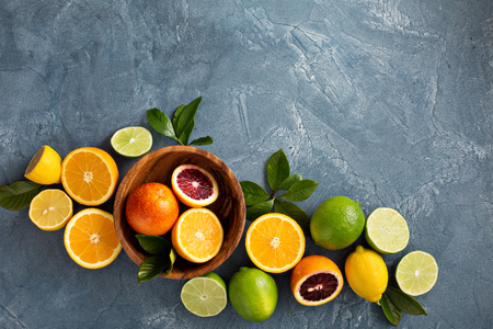 Citrus fruits background with oranges  and lemons