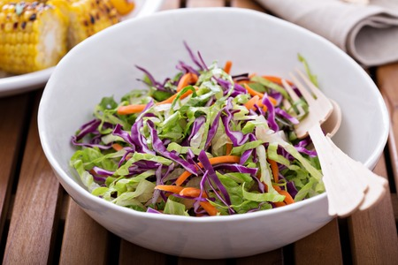 cole: Cole slaw salad with romaine, red cabbage and carrot for an outdoor picnic