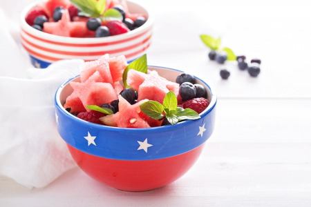 star shaped: Fruit salad with star shaped watermelon and blueberries