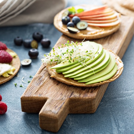 wholegrain: Wholegrain toast with variety of healthy toppings
