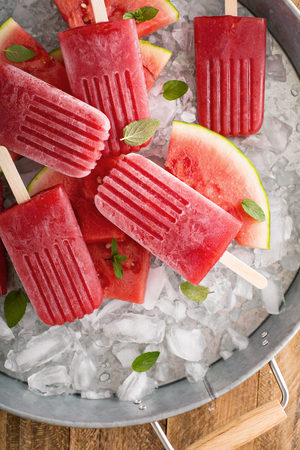 filled: Watermelon and strawberry on ice filled tray