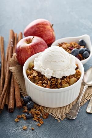 Apple crisp with vanilla ice cream - homemade fall dessert
