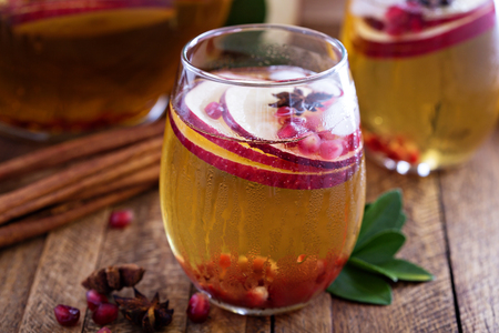 White sangria with apple cider - fall refreshing drink Stock Photo