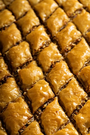 Homemade baklava with pistachios and hazelnuts and honey syrup Stock Photo