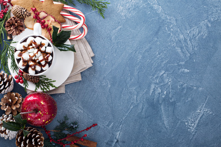 copies: Christmas hot chocolate with marshmallows, ginger cookies and festive decorations